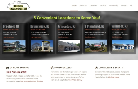 Branning Collision Center web site created by Digital110